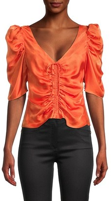 Cinq à Sept Betty Ruched Puff-Sleeve Top