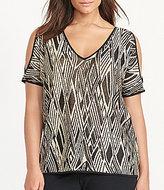 Lauren Ralph Lauren Plus V-Neck Cutout-Shoulder Printed Top