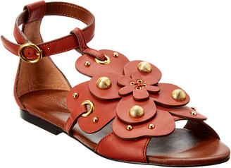 See by Chloe Stud-Embellished Floral Leather Sandal