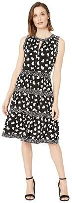 MICHAEL Michael Kors Petal Mix Tier Dress (Black) Women's Dress