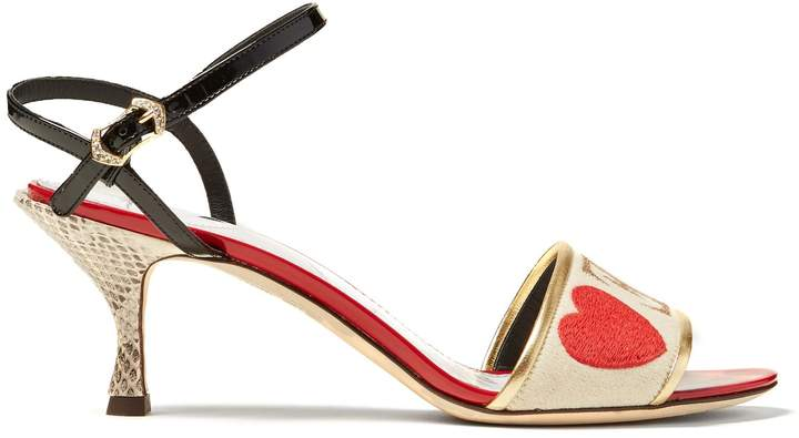 Dolce & Gabbana Amore-embroidered sandals