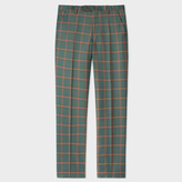 Paul Smith Men's Green And Rust Check Wool-Cashmere Trousers