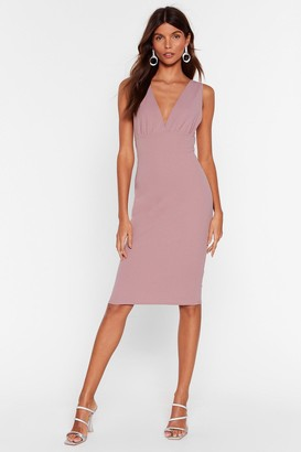 Nasty Gal Womens In Deep Plunging Midi Dress - Dusty Rose