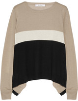 Max Mara Color-block Silk And Cashmere-blend Sweater - Beige