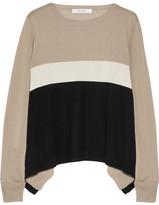 Max Mara Color-block Silk And Cashmere-blend Sweater - Beige