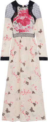 RED Valentino Chiffon-trimmed Point D'esprit-paneled Printed Silk Crepe De Chine Midi Dress