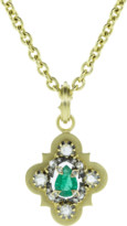 Sylva & Cie Vintage Pear Shape Emerald and Diamond Pendant