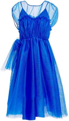MSGM Gathered Ruffle-trimmed Bow-embellished Tulle Mini Dress