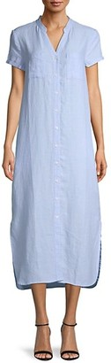 Pure Navy Linen Button-Front Dress