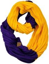 C&C C.C Unisex College High School Sport Team Color Two Tone Winter Knit Scarf - Burnt Orange/White