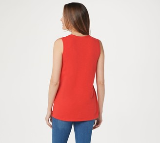 Denim & Co. Textured Knit Split V-Neck Sleeveless Tunic