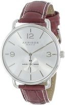 Akribos XXIV Women's AK658BUR Essential Quartz Stainless Steel Burgundy Leather Strap Watch