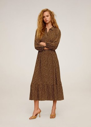 MANGO Midi printed dress brown - 2 - Women