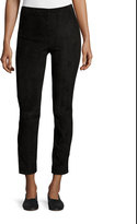 Vince Stretch-Suede Cropped Pants, Black
