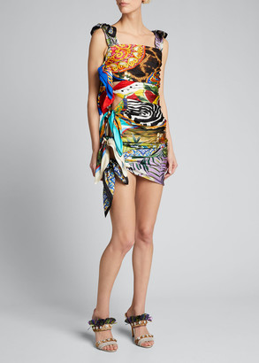 Dolce & Gabbana Silk Scarf-Tied Bodycon Dress