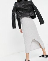 Thumbnail for your product : New Look ribbed midi skirt in grey