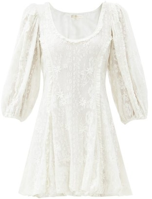 LoveShackFancy Hampton Scoop-neck Cotton-lace Mini Dress - White