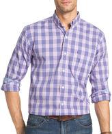 Izod Advantage Preformance Stretch Long Sleeve Plaid Button Front Shirt