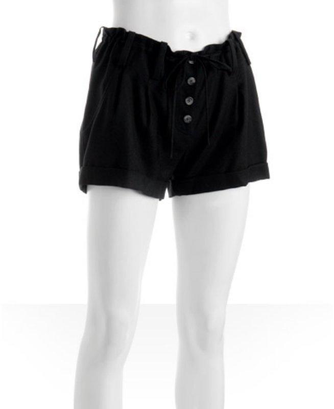 Daryl K black wool pleated 'Pirate' cuffed shorts
