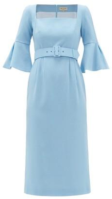 Beulah Camellia Belted Wool-crepe Dress - Light Blue