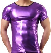 "FEESHOW Men's Shiny Metallic Leather Look Underwear Short Sleeve T Shirt Top Large (Chest: 35.5-47.0"")"