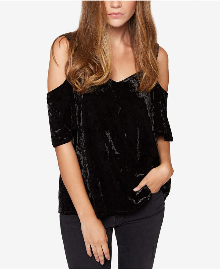 Sanctuary Velvet Cold-Shoulder Top