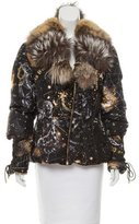 Roberto Cavalli Fur-Trimmed SIlk Coat