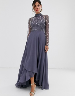 Asos Design DESIGN maxi dress with linear embellished bodice and wrap skirt-Blue