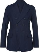 Giorgio Armani - Blue Slim-fit Double-breasted Cotton And Linen-blend Blazer