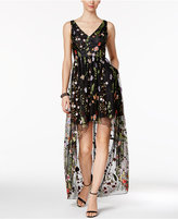 Adrianna Papell Embroidered High-Low Gown