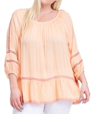 Fever Plus Size Crochet-Trim Top