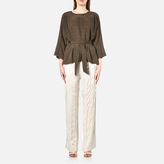 Gestuz Women's Jacquard Satin Top Brown Olive