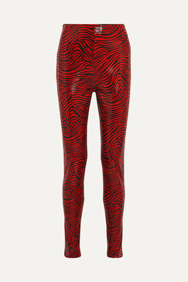 Stand Studio Pernille Teisbaek Tabitha Zebra-print Faux Leather Skinny Pants - Red