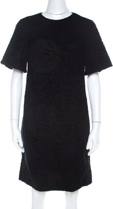 N°21 N21 Black Lace Knot Detail Short Sleeve Shift Dress M