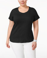 Charter Club Plus Size Pima Cotton Scoop-Neck T-Shirt, Created for Macy's
