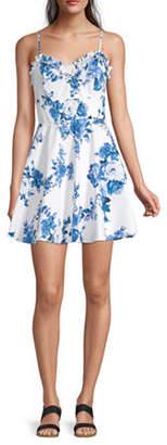 Trixxi Juniors Spaghetti Strap Floral Fit & Flare Dress