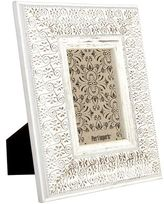 Pier 1 Imports Distressed White Floral Swirl 4x6 Photo Frame