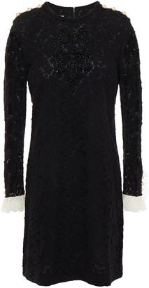 Gucci Embellished Cotton-blend Crocheted Lace Mini Dress