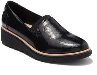 Clarks Sharon Dolly Leather Wedge Loafer - Wide Width Available