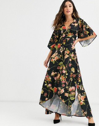 UNIQUE21 floral kimono style maxi dress-Multi