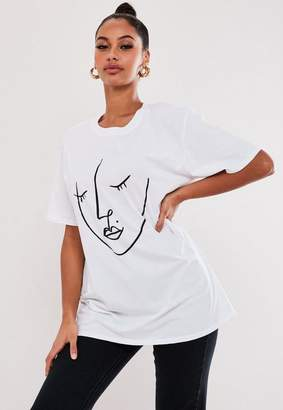 Missguided White Face Line Drawing Graphic T Shirt