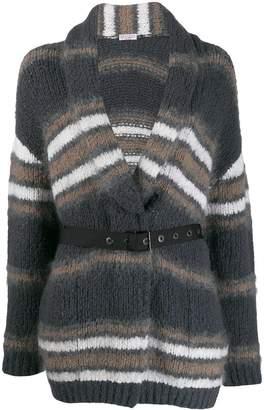 Brunello Cucinelli striped belted cardigan