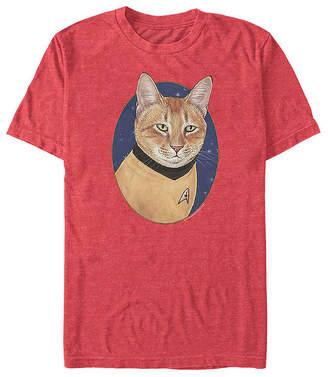 Fifth Sun Captain Kirk Cat Mens Crew Neck Short Sleeve Star Trek Graphic T-Shirt