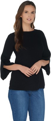H by Halston Boatneck 3/4 Sleeve Pullover with Sleeve Detail
