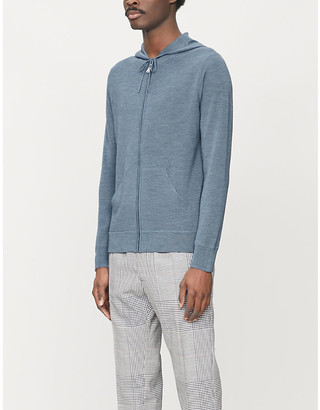Sandro Textured zip-up wool-blend hoody