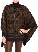 Rafaella Brown Diamond Pattern Poncho Jacket
