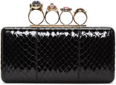 Alexander McQueen Black Snakeskin Ring Box Clutch
