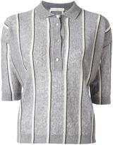 Golden Goose Deluxe Brand striped knit polo shirt - women - Cotton/Linen/Flax/Polyester/Viscose - XS