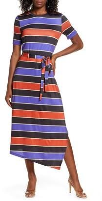 Charles Henry Stripe Belted Asymmetrical Midi Dress