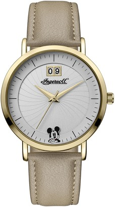 Ingersoll Disney Women's Union Quartz Watch with White Dial and Beige PU Leather Strap ID00503